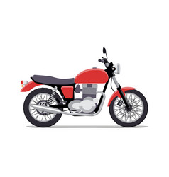 red classic motorcycle design flat style isolated vector image