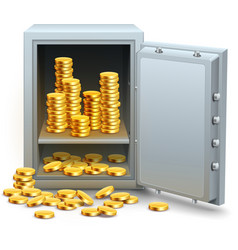 Safe full of gold coins money vector image vector image