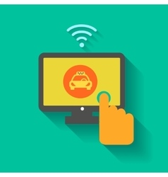 design online taxi service Man hand vector image