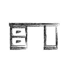 Desk furniture work sketch vector