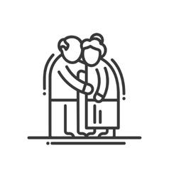 Elderly Couple - line design single isolated icon vector image