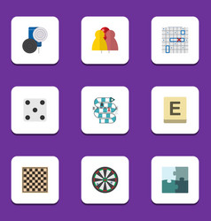 flat icon games set of chequer jigsaw chess vector image vector image