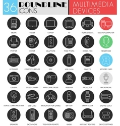 Multimedia devices circle white black icon vector image
