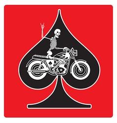 Ace of Spades with Skeleton Biker design vector image