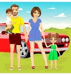 Family on vacation trip near their red car vector