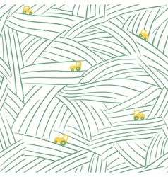 farm seamless pattern with field and tractor vector image vector image