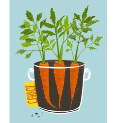 Growing Carrots with Green Leafy Top in Mug vector image vector image