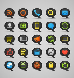 Web icons on speech clouds vector image vector image