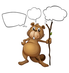 A beaver holding a stick with empty callouts vector image