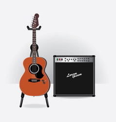 acoustic electric guitar with guitar amplifier vector image vector image