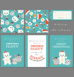 antarctic friends for merry christmas vector image