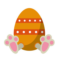 easter egg with bunny paw vector image