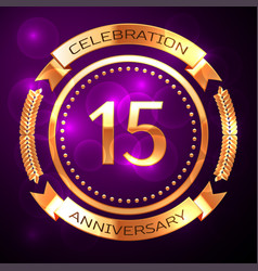 fifteen years anniversary celebration with golden vector image vector image