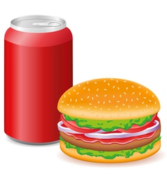 hamburger and aluminum cans with soda vector image