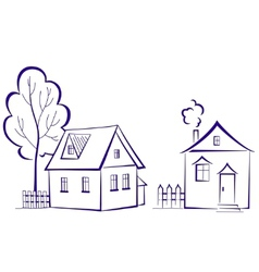 houses with a tree vector image