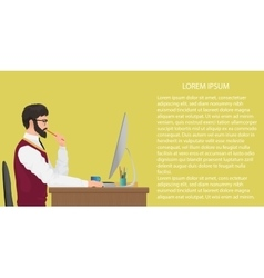 Modern young office worker using computer Front vector image vector image