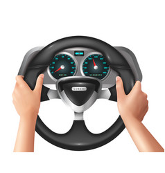 realistic isolated hands driver in car vector image