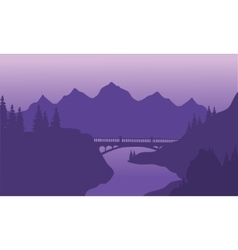 View bridge and mountain silhouette vector image