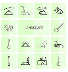 14 landscape icons vector image