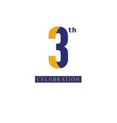 3 th anniversary celebration orange blue template vector