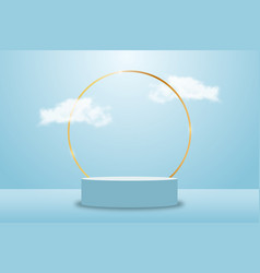 3d blue rendering with platform and clouds vector