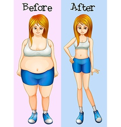A transformation from fat into slim lady vector