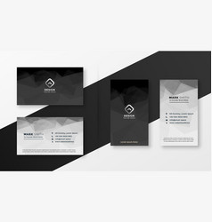Abstract black and white business card template vector