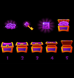animated treasure chest with purple precious gem vector image