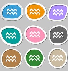 Aquarius symbols Multicolored paper stickers vector image