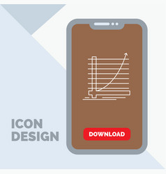 arrow chart curve experience goal line icon in vector image