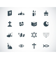 black religion icons set vector image