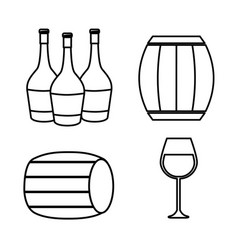 Bottles of wine barrel and glass icon vector