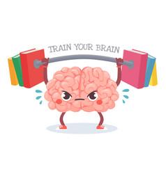 brain training cartoon brain lifts weight vector image
