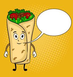 Burrito cartoon pop art vector