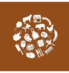 butcher icons in circle vector image