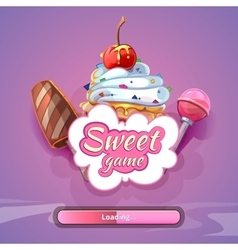 Candy world game background with title name vector image