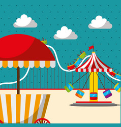 carousel chair roller coaster and food booth vector image