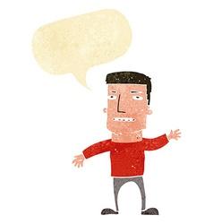 Cartoon waving stressed man with speech bubble vector