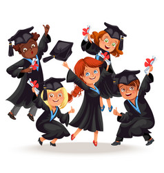 College students poster with happy graduates of vector