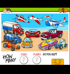 Counting cars and planes educational game vector