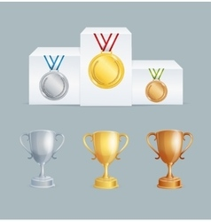 Cup and Medal Award Set vector image