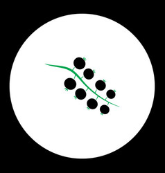 Currant fruit simple black and green icon eps10 vector