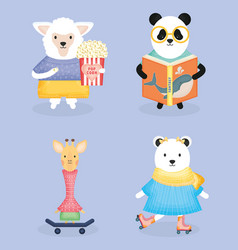 cute animals practicing activities vector image