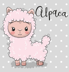 Cute cartoon alpaca on a gray background vector