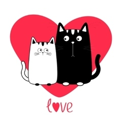 Cute cartoon black white cat boy and girl family vector image