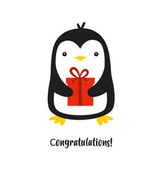 cute penguin isolated on white vector image