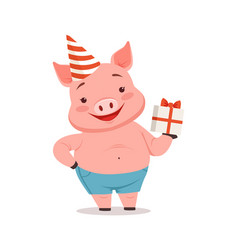 cute pig in party hat holding gift box funny vector image