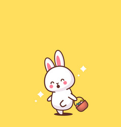 cute rabbit holding basket with eggs happy easter vector image
