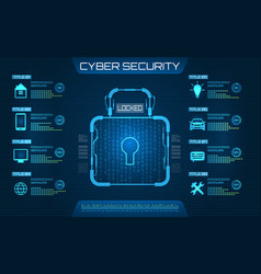 cyber security concept lock symbol privacy vector image