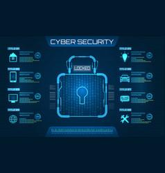 cyber security concept lock symbol privacy vector image